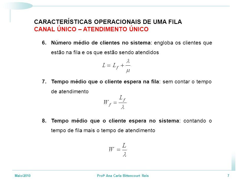 Maio/2010 Prof a Ana Carla Bittencourt Reis 7 6.Número médio de clientes no sistema: engloba os clientes que estão na fila e os que estão sendo atendi