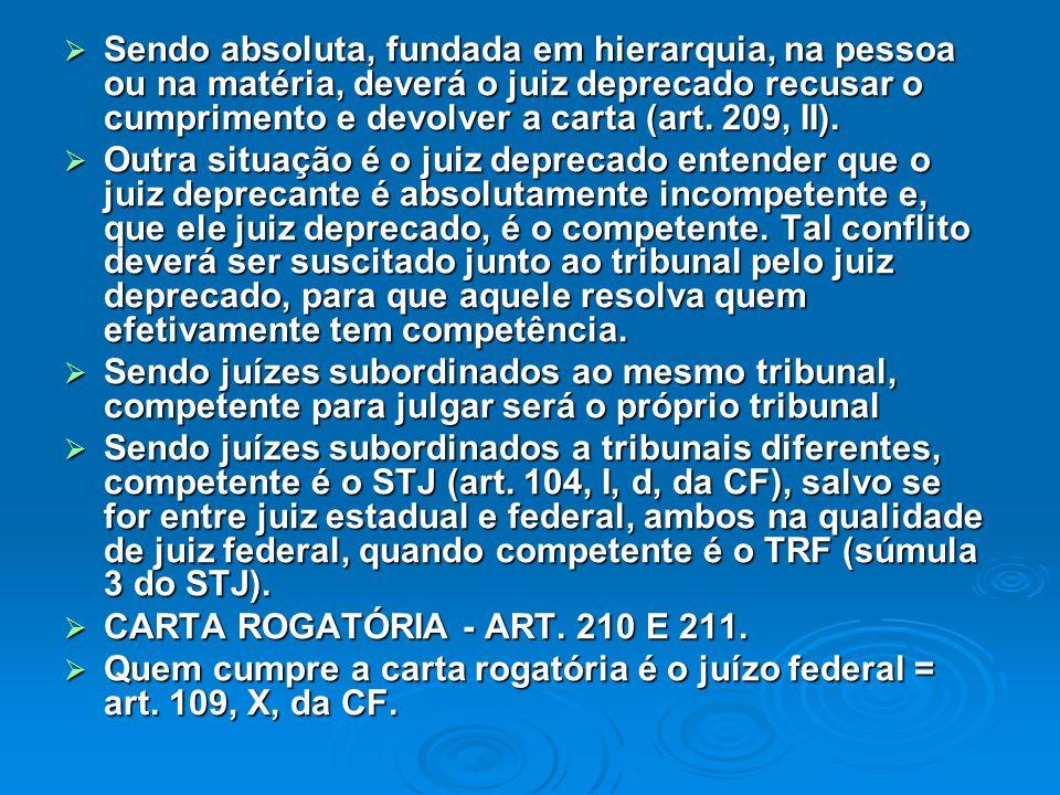  Sendo absoluta, fundada em hierarquia, na pessoa ou na matéria, deverá o juiz deprecado recusar o cumprimento e devolver a carta (art. 209, II).  O
