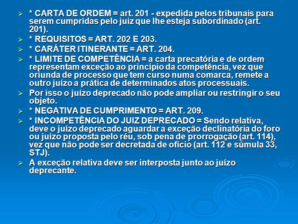  * CARTA DE ORDEM = art. 201 - expedida pelos tribunais para serem cumpridas pelo juiz que lhe esteja subordinado (art. 201).  * REQUISITOS = ART. 2