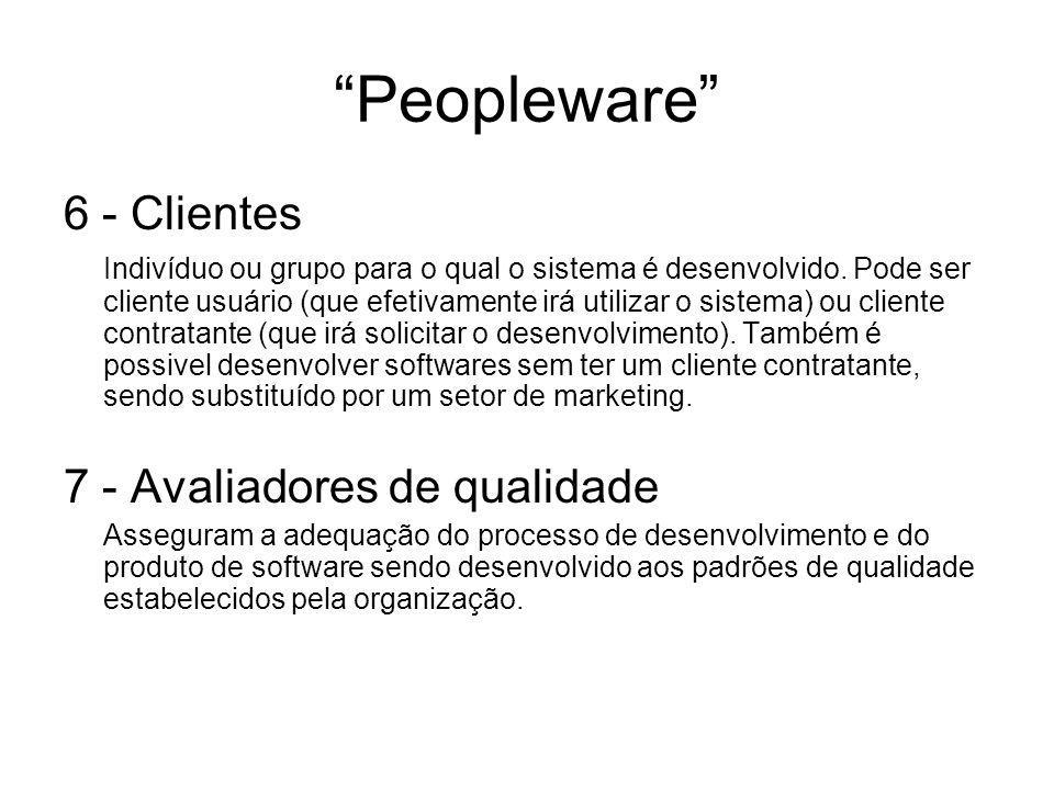 """""""Peopleware"""" 6 - Clientes Indivíduo ou grupo para o qual o sistema é desenvolvido. Pode ser cliente usuário (que efetivamente irá utilizar o sistema)"""