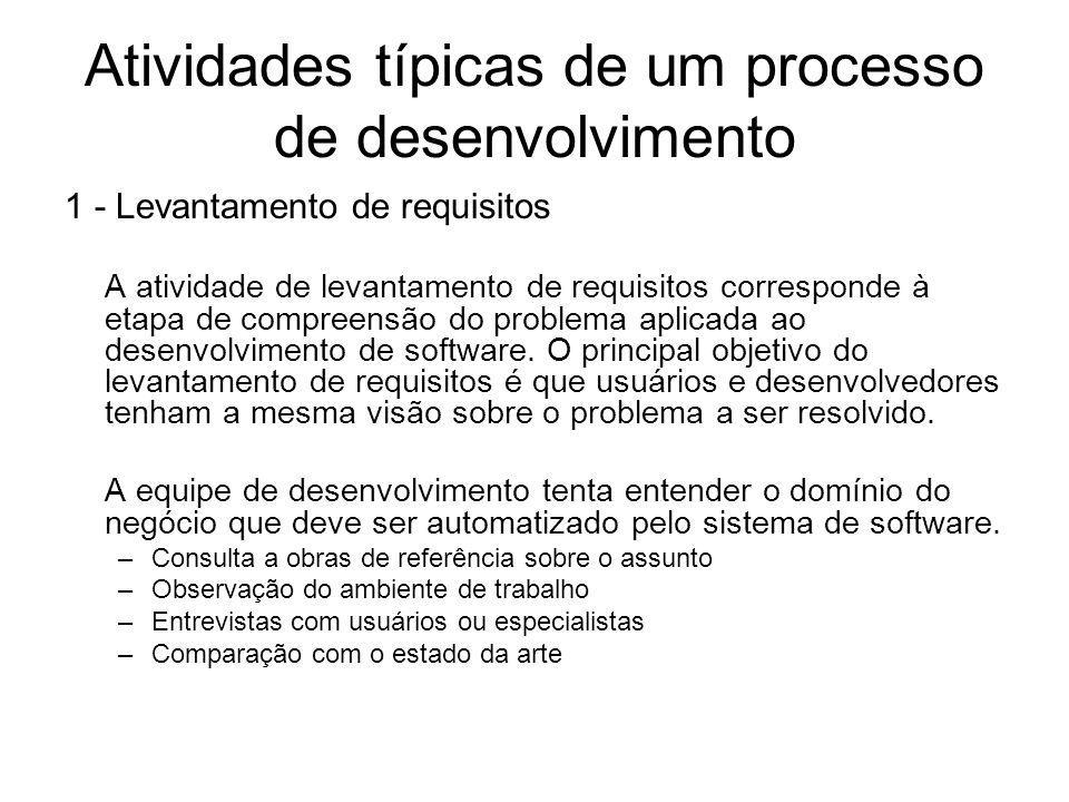 Atividades típicas de um processo de desenvolvimento 1 - Levantamento de requisitos A atividade de levantamento de requisitos corresponde à etapa de c