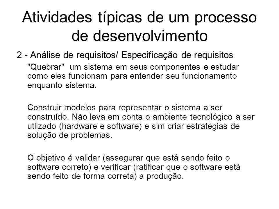 Atividades típicas de um processo de desenvolvimento 2 - Análise de requisitos/ Especificação de requisitos
