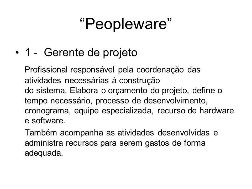 """""""Peopleware"""" 1 - Gerente de projeto Profissional responsável pela coordenação das atividades necessárias à construção do sistema. Elabora o orçamento"""