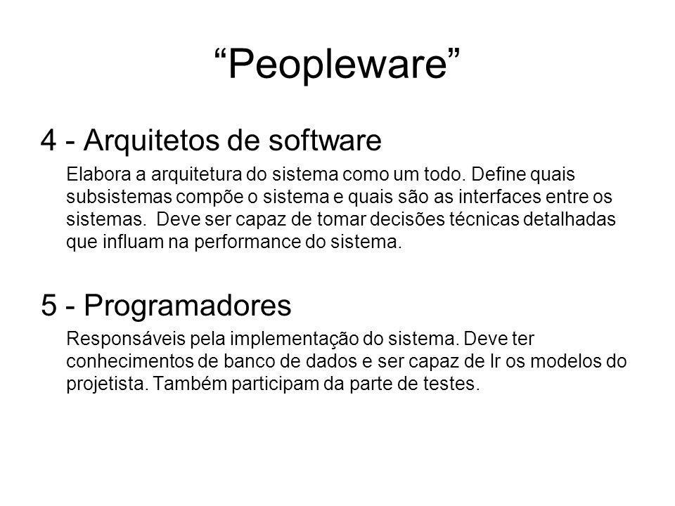 """""""Peopleware"""" 4 - Arquitetos de software Elabora a arquitetura do sistema como um todo. Define quais subsistemas compõe o sistema e quais são as interf"""