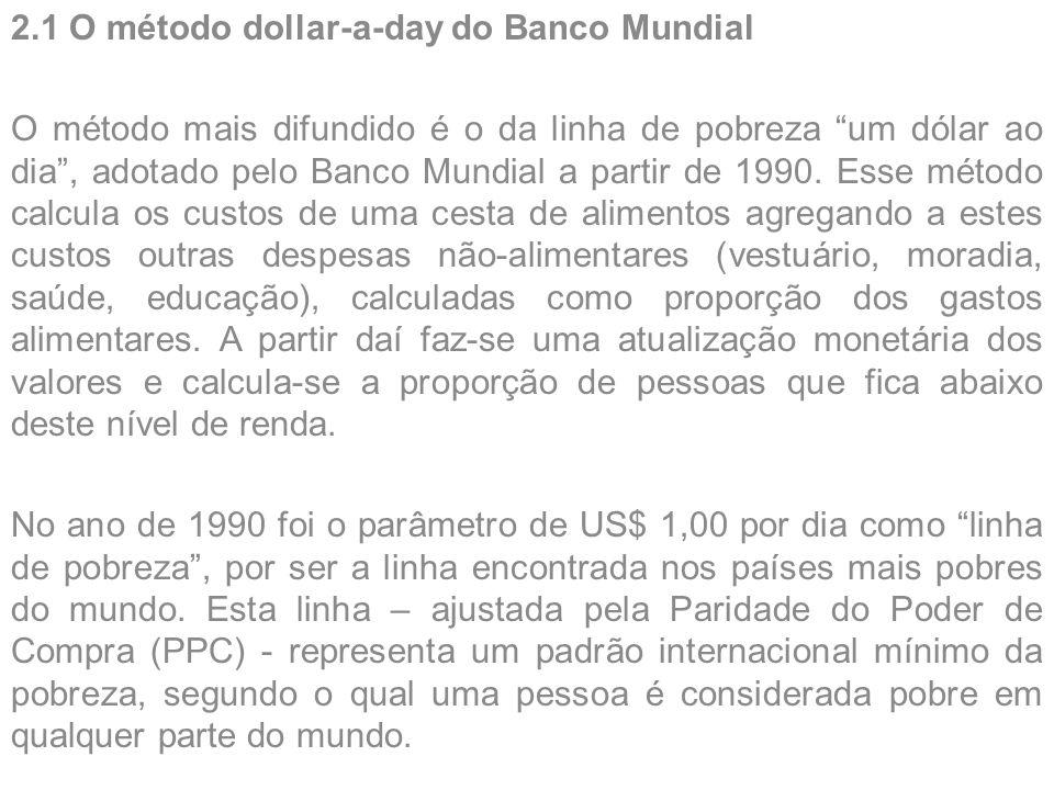 "2.1 O método dollar-a-day do Banco Mundial O método mais difundido é o da linha de pobreza ""um dólar ao dia"", adotado pelo Banco Mundial a partir de 1"