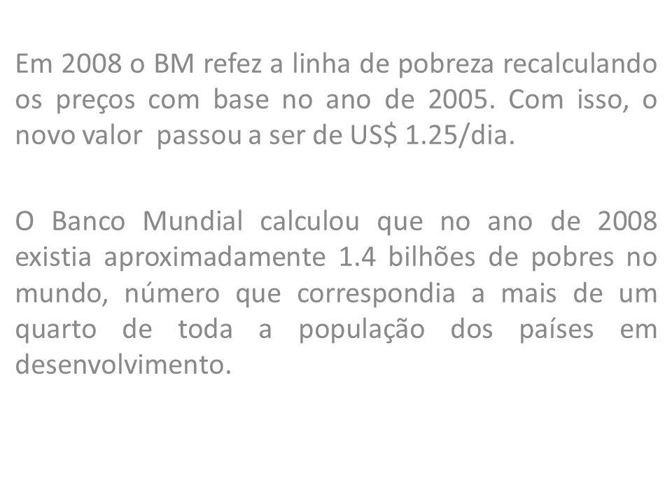 Em 2008 o BM refez a linha de pobreza recalculando os preços com base no ano de 2005. Com isso, o novo valor passou a ser de US$ 1.25/dia. O Banco Mun
