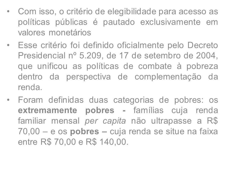 Com isso, o critério de elegibilidade para acesso as políticas públicas é pautado exclusivamente em valores monetários Esse critério foi definido oficialmente pelo Decreto Presidencial nº 5.209, de 17 de setembro de 2004, que unificou as políticas de combate à pobreza dentro da perspectiva de complementação da renda.