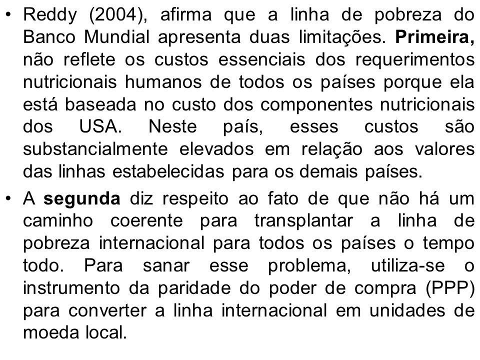 Reddy (2004), afirma que a linha de pobreza do Banco Mundial apresenta duas limitações. Primeira, não reflete os custos essenciais dos requerimentos n