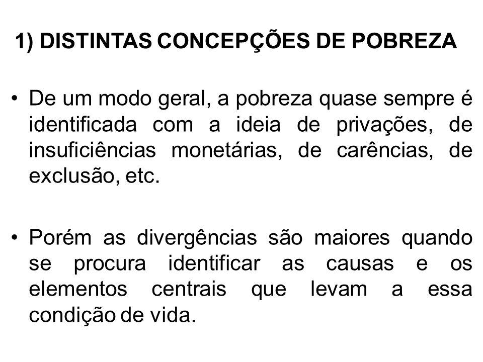 1) DISTINTAS CONCEPÇÕES DE POBREZA De um modo geral, a pobreza quase sempre é identificada com a ideia de privações, de insuficiências monetárias, de