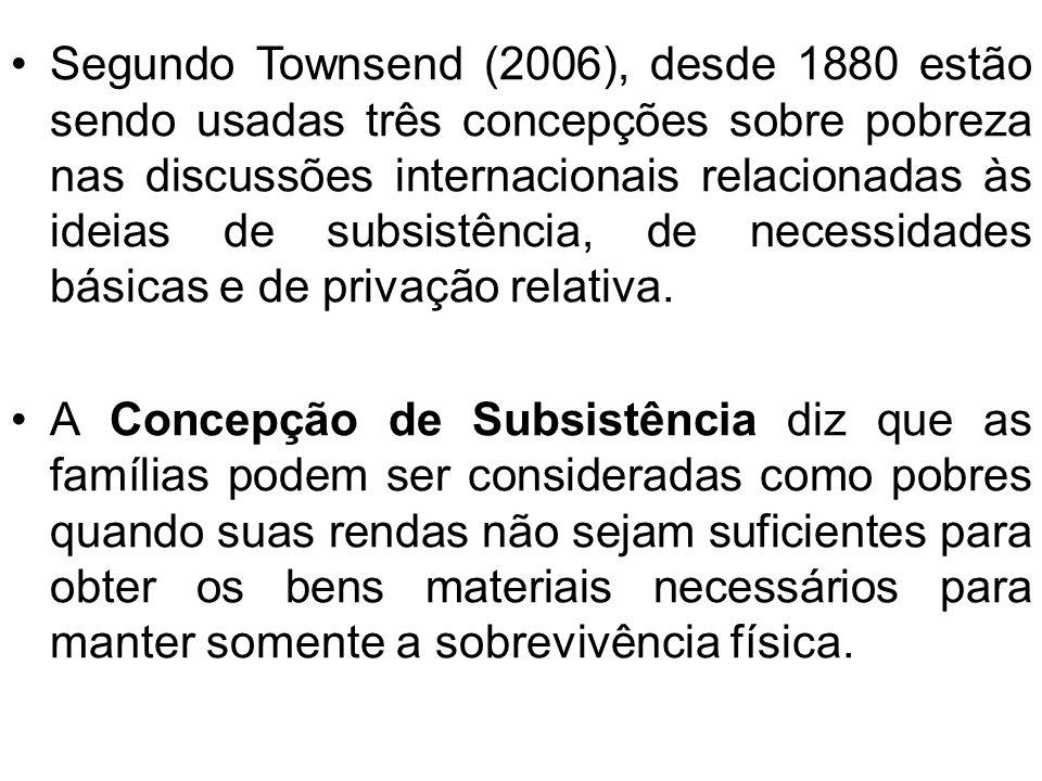 Segundo Townsend (2006), desde 1880 estão sendo usadas três concepções sobre pobreza nas discussões internacionais relacionadas às ideias de subsistência, de necessidades básicas e de privação relativa.