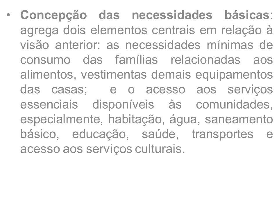 Concepção das necessidades básicas: agrega dois elementos centrais em relação à visão anterior: as necessidades mínimas de consumo das famílias relaci