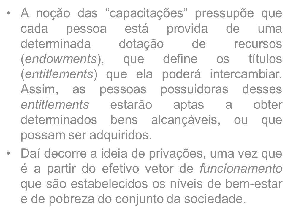 """A noção das """"capacitações"""" pressupõe que cada pessoa está provida de uma determinada dotação de recursos (endowments), que define os títulos (entitlem"""