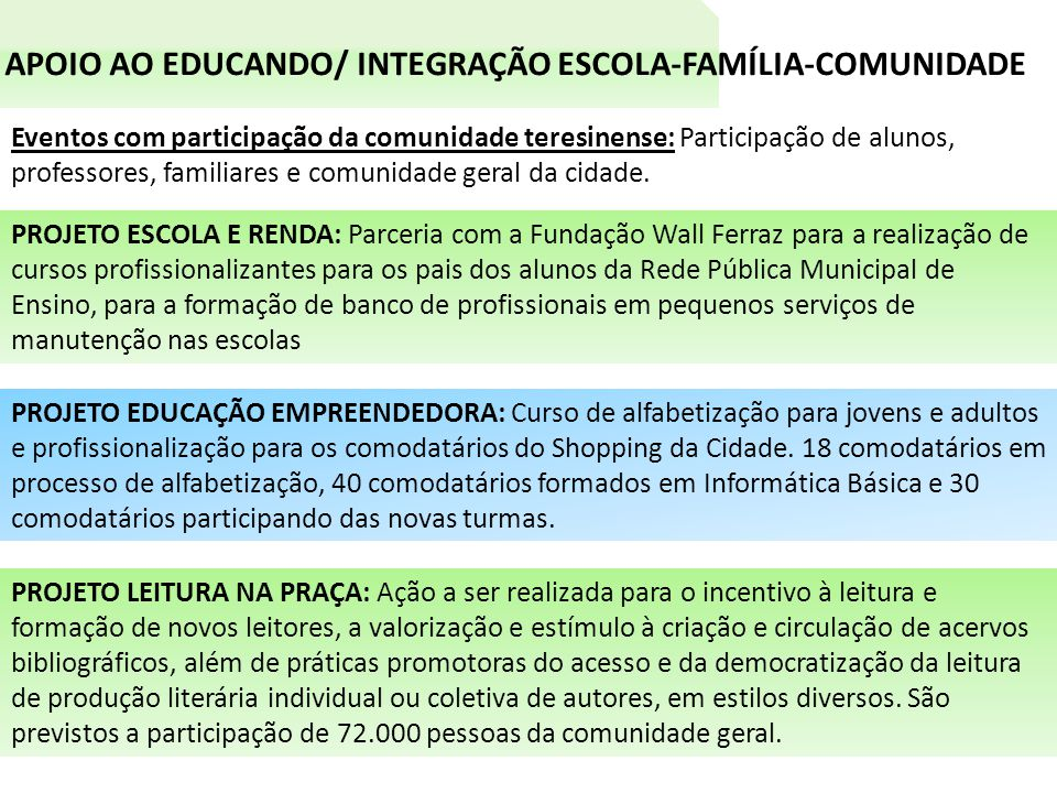 APOIO AO EDUCANDO/ INTEGRAÇÃO ESCOLA-FAMÍLIA-COMUNIDADE Eventos com participação da comunidade teresinense: Participação de alunos, professores, familiares e comunidade geral da cidade.