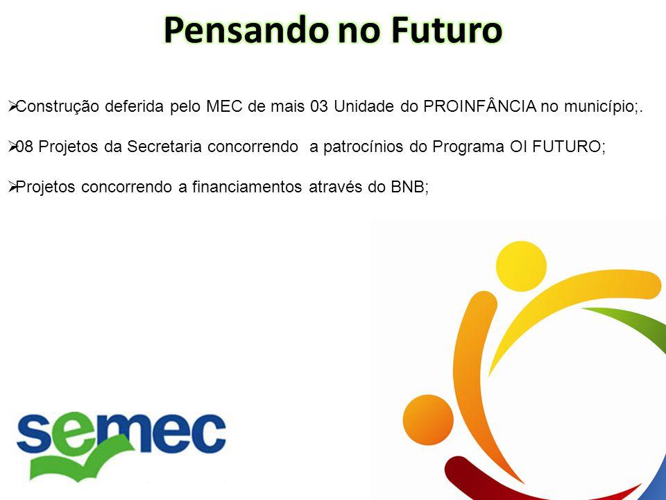 Construção deferida pelo MEC de mais 03 Unidade do PROINFÂNCIA no município;.