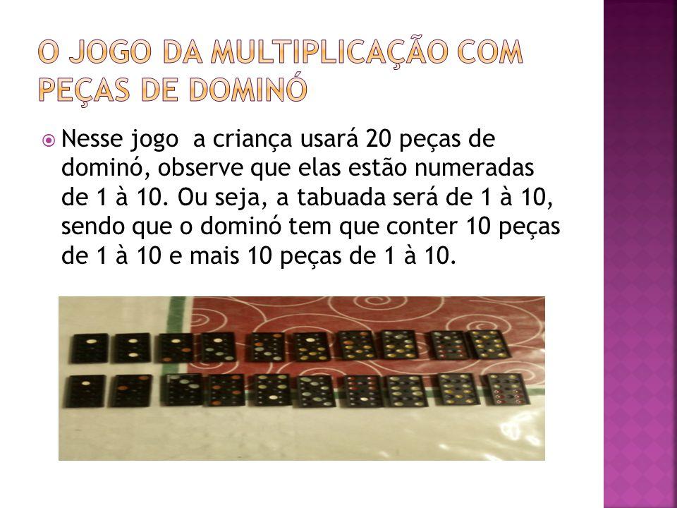  Nesse jogo a criança usará 20 peças de dominó, observe que elas estão numeradas de 1 à 10. Ou seja, a tabuada será de 1 à 10, sendo que o dominó tem
