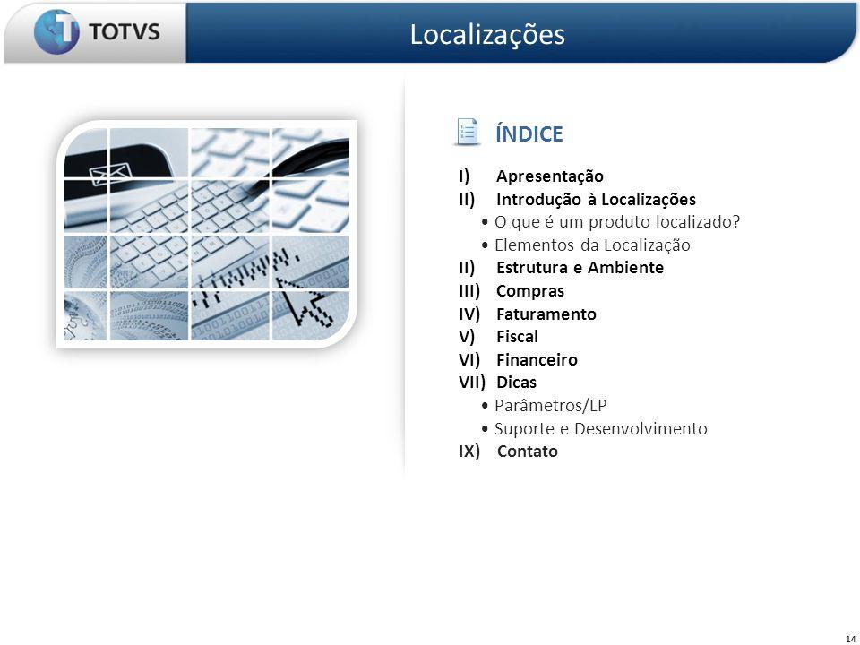 14 Localizações I)Apresentação II)Introdução à Localizações O que é um produto localizado? Elementos da Localização II)Estrutura e Ambiente III)Compra