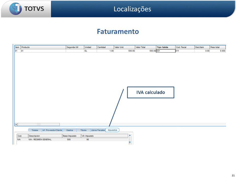 Faturamento Localizações 21 IVA calculado