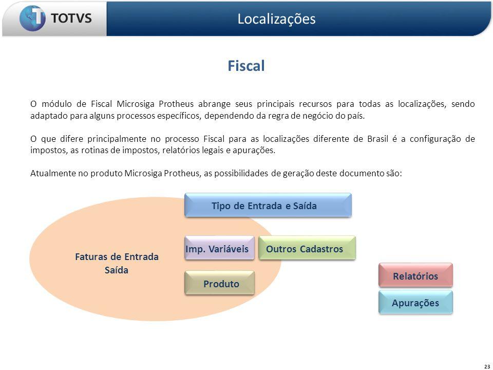 Fiscal Localizações 23 O módulo de Fiscal Microsiga Protheus abrange seus principais recursos para todas as localizações, sendo adaptado para alguns p
