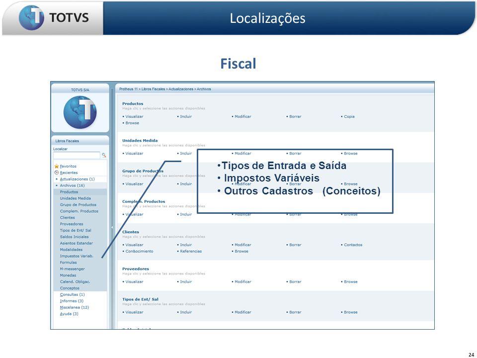 Fiscal Localizações 24 Tipos de Entrada e Saída Impostos Variáveis Outros Cadastros (Conceitos)