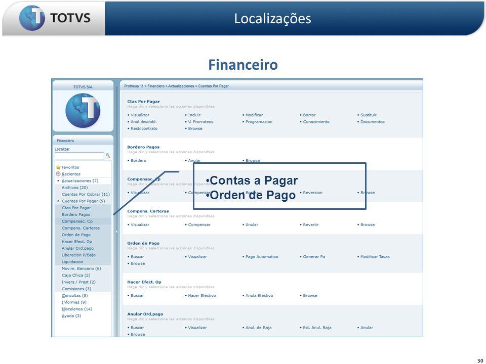 Financeiro Localizações 30 Contas a Pagar Orden de Pago