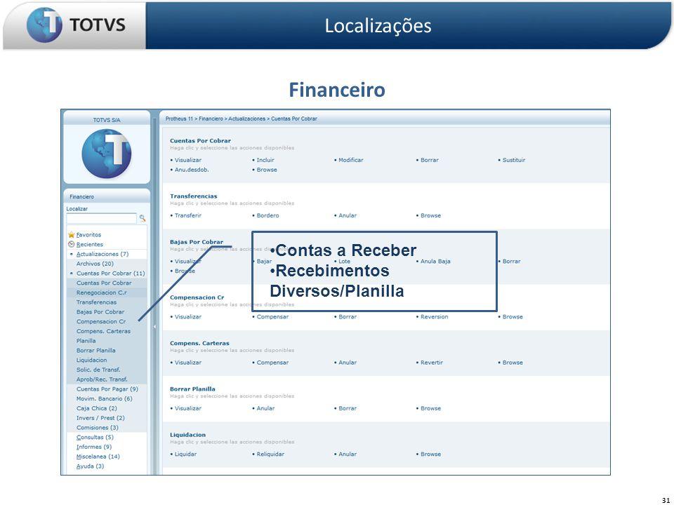 Financeiro Localizações 31 Contas a Receber Recebimentos Diversos/Planilla