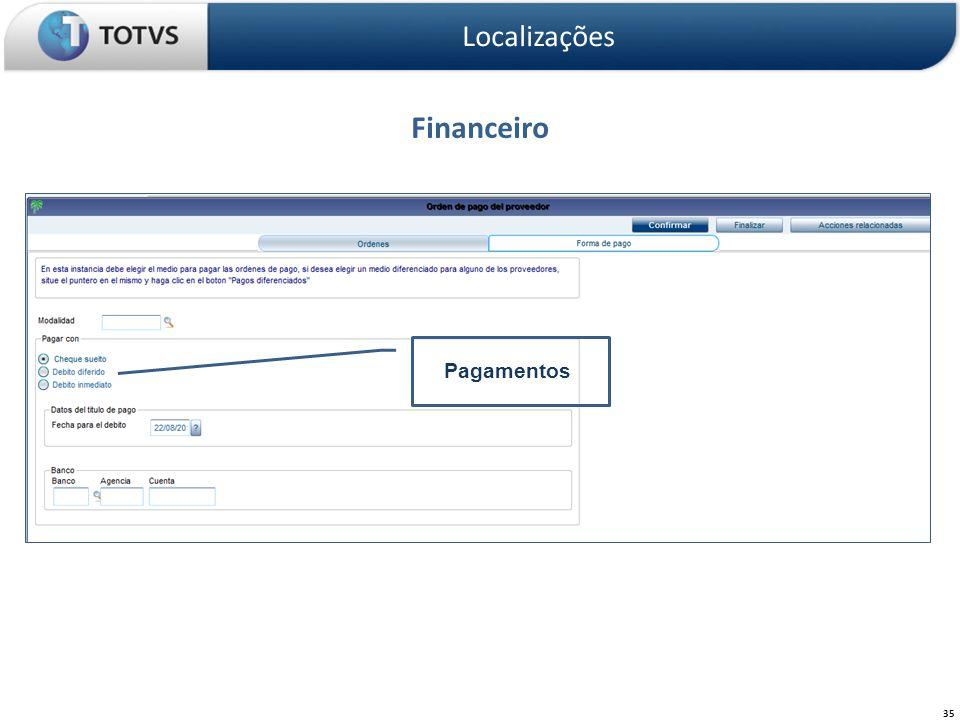 Financeiro Localizações 35 Pagamentos