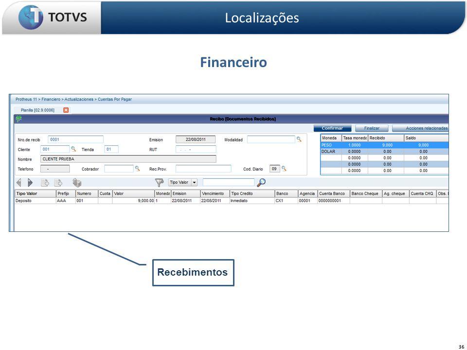 Financeiro Localizações 36 Recebimentos