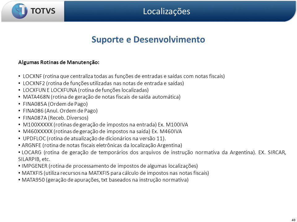 Suporte e Desenvolvimento Localizações 40 Algumas Rotinas de Manutenção: LOCXNF (rotina que centraliza todas as funções de entradas e saídas com notas