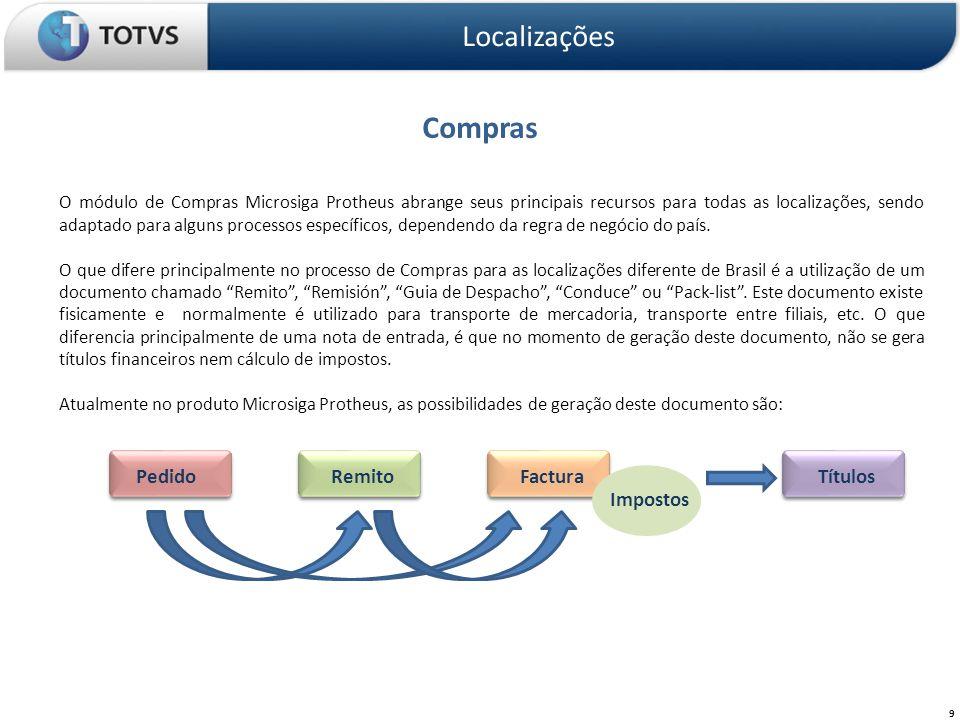 Compras Localizações 9 O módulo de Compras Microsiga Protheus abrange seus principais recursos para todas as localizações, sendo adaptado para alguns