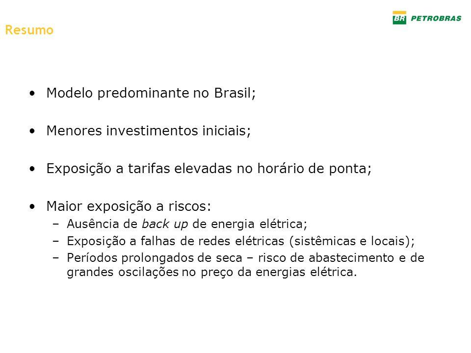 Modelo predominante no Brasil; Menores investimentos iniciais; Exposição a tarifas elevadas no horário de ponta; Maior exposição a riscos: –Ausência d