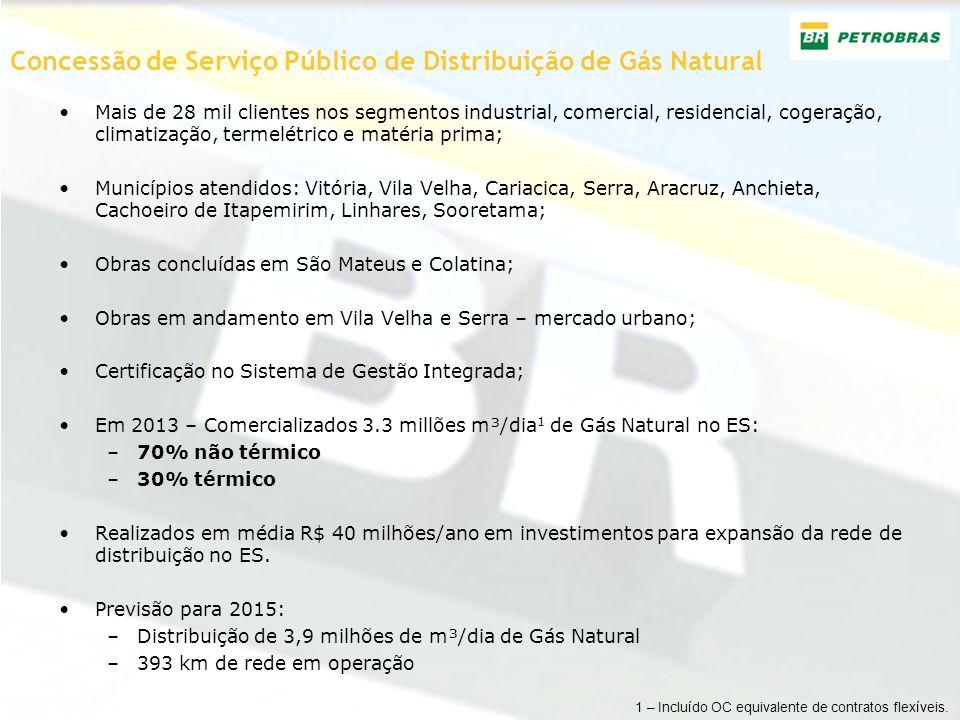 Concessão de Serviço Público de Distribuição de Gás Natural Mais de 28 mil clientes nos segmentos industrial, comercial, residencial, cogeração, clima