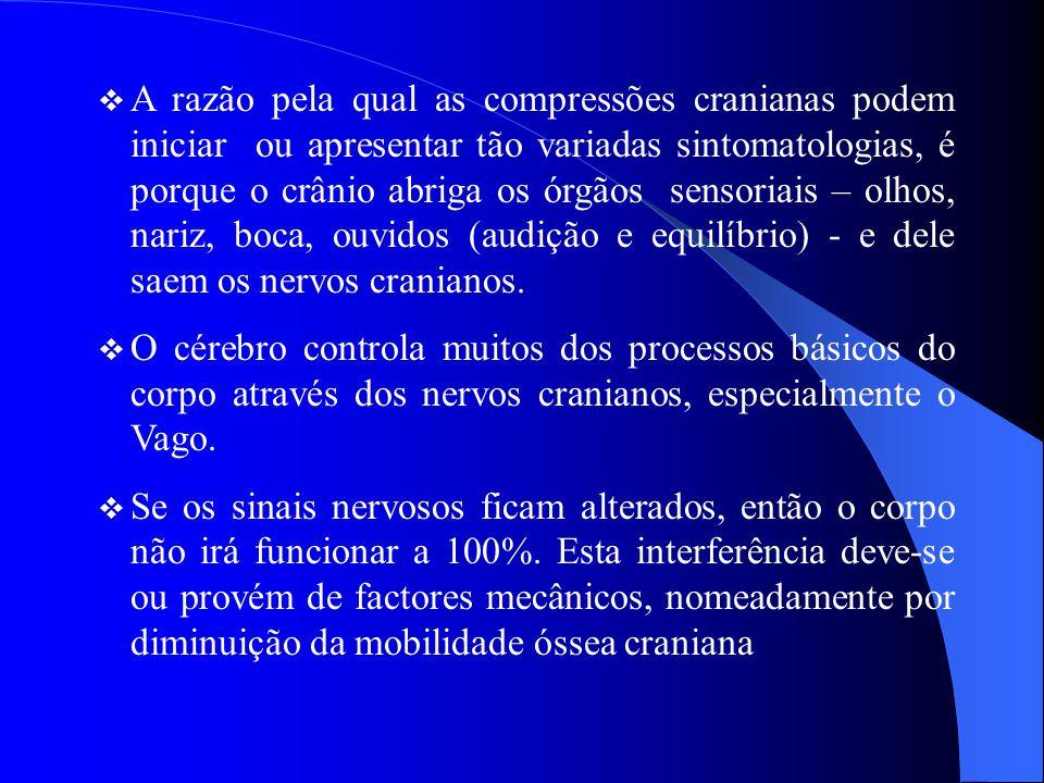  A razão pela qual as compressões cranianas podem iniciar ou apresentar tão variadas sintomatologias, é porque o crânio abriga os órgãos sensoriais –
