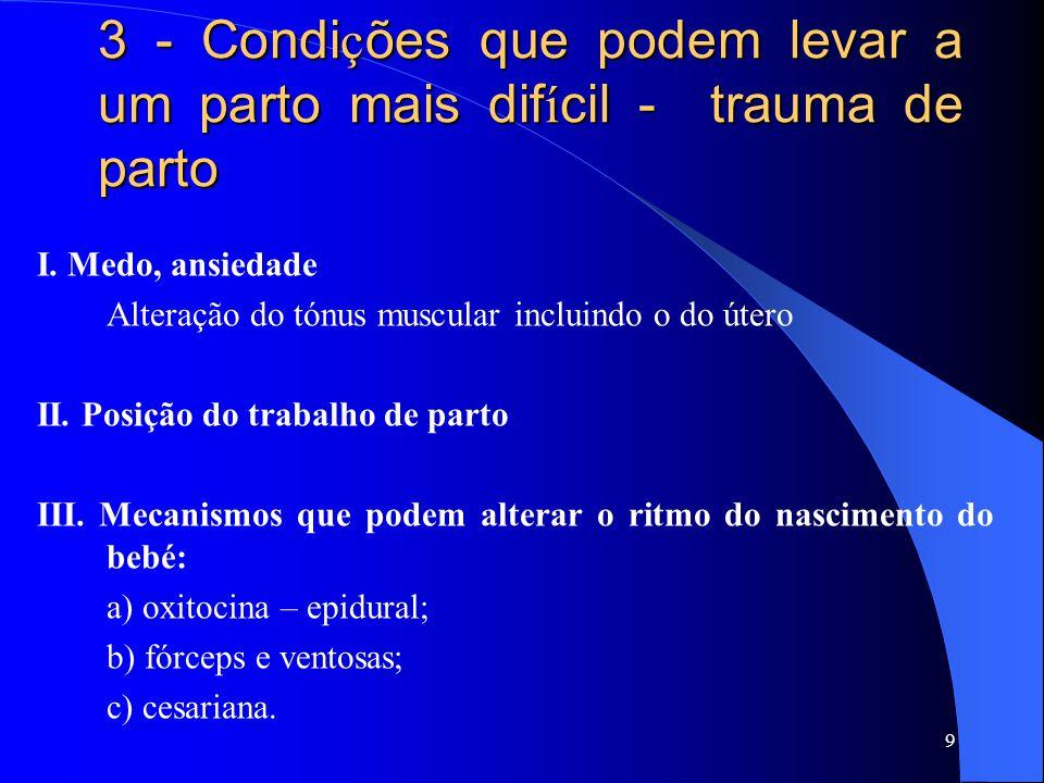 3 - Condi ç ões que podem levar a um parto mais dif í cil - trauma de parto I. Medo, ansiedade Alteração do tónus muscular incluindo o do útero II. Po