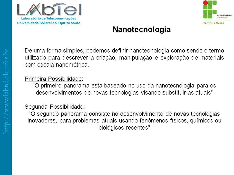http://www.labtel.ele.ufes.br Laboratório de Telecomunicações Universidade Federal do Espírito Santo Nanotecnologia De uma forma simples, podemos defi