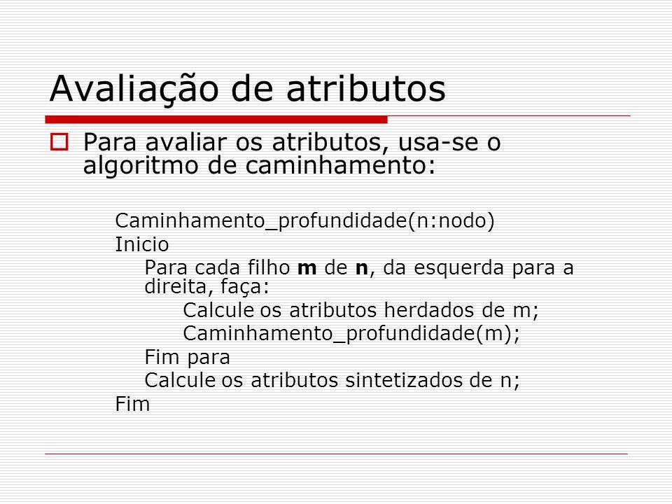 Avaliação de atributos  Para avaliar os atributos, usa-se o algoritmo de caminhamento: Caminhamento_profundidade(n:nodo) Inicio Para cada filho m de n, da esquerda para a direita, faça: Calcule os atributos herdados de m; Caminhamento_profundidade(m); Fim para Calcule os atributos sintetizados de n; Fim