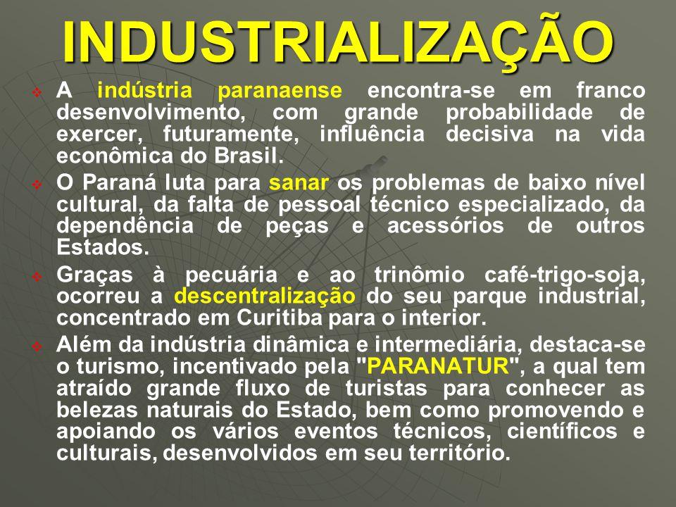   A indústria paranaense encontra-se em franco desenvolvimento, com grande probabilidade de exercer, futuramente, influência decisiva na vida econômica do Brasil.