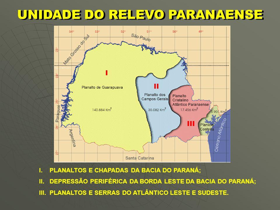 O RELEVO PARANAENSE   1º Planalto ou Planalto Cristalino Atlântico Paranaense ou de Curitiba;   2º Planalto ou Planalto dos Campos Gerais ou Ponta Grossa;   3º Planalto ou Planalto de Guarapuava.