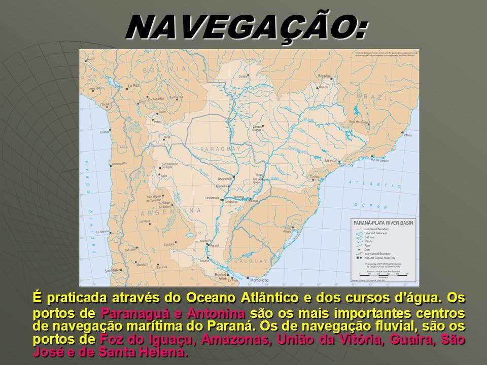 NAVEGAÇÃO: É praticada através do Oceano Atlântico e dos cursos d água.