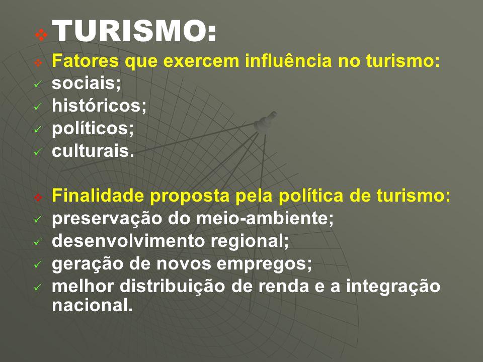   TURISMO:   Fatores que exercem influência no turismo: sociais; históricos; políticos; culturais.