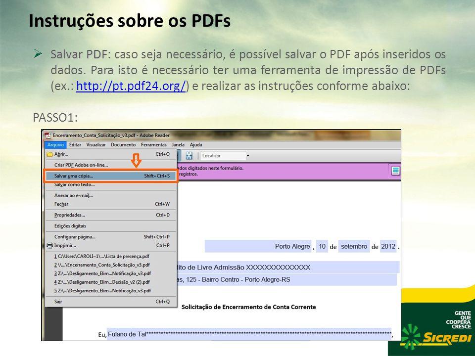Instruções sobre os PDFs  Salvar PDF  Salvar PDF: caso seja necessário, é possível salvar o PDF após inseridos os dados.