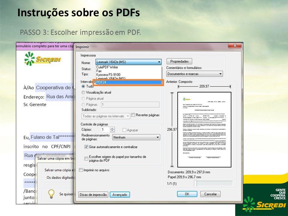 Instruções sobre os PDFs PASSO 3: Escolher impressão em PDF.