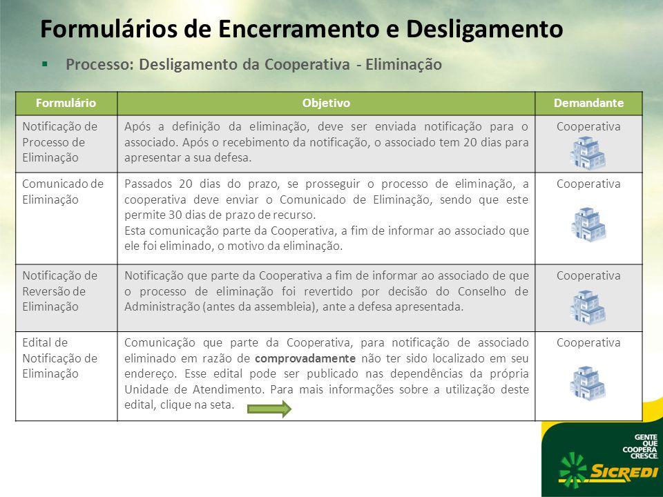 Formulários de Encerramento e Desligamento  Processo: Desligamento da Cooperativa - Eliminação FormulárioObjetivoDemandante Notificação de Processo de Eliminação Após a definição da eliminação, deve ser enviada notificação para o associado.