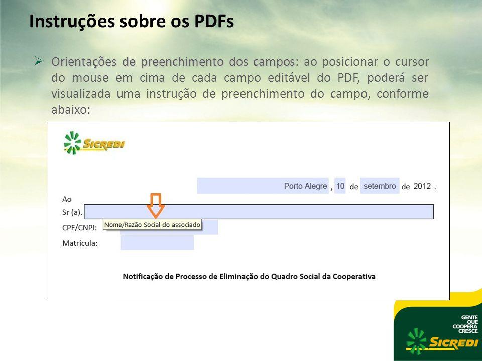 Instruções sobre os PDFs  Orientações de preenchimento dos campos  Orientações de preenchimento dos campos: ao posicionar o cursor do mouse em cima de cada campo editável do PDF, poderá ser visualizada uma instrução de preenchimento do campo, conforme abaixo: