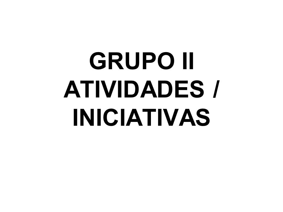 GRUPO II ATIVIDADES / INICIATIVAS