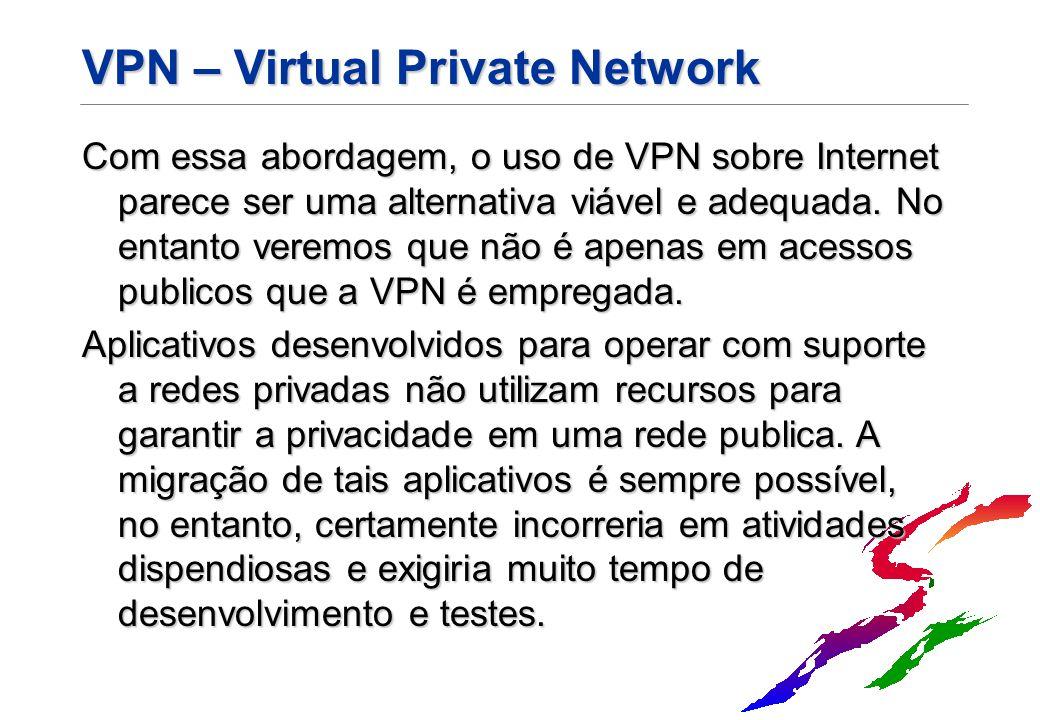 VPN – Virtual Private Network Com essa abordagem, o uso de VPN sobre Internet parece ser uma alternativa viável e adequada. No entanto veremos que não