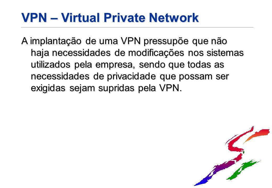 VPN – Virtual Private Network A implantação de uma VPN pressupõe que não haja necessidades de modificações nos sistemas utilizados pela empresa, sendo
