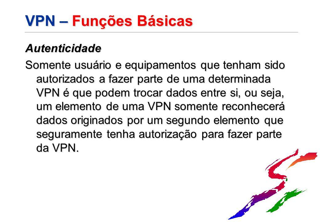 VPN – Funções Básicas Autenticidade Somente usuário e equipamentos que tenham sido autorizados a fazer parte de uma determinada VPN é que podem trocar