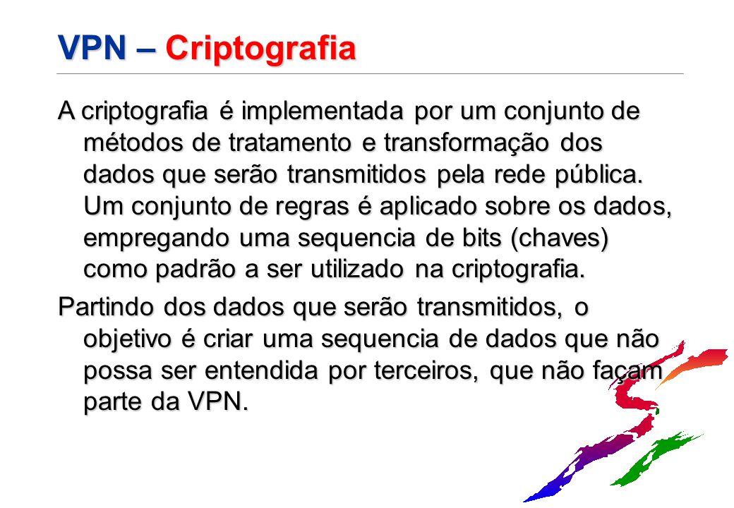 VPN – Criptografia A criptografia é implementada por um conjunto de métodos de tratamento e transformação dos dados que serão transmitidos pela rede p