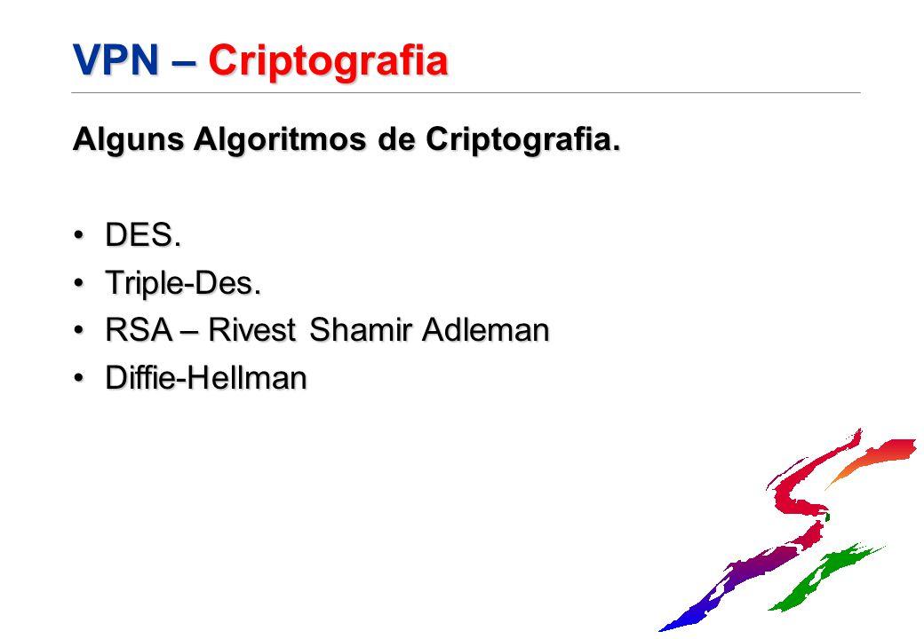 VPN – Criptografia Alguns Algoritmos de Criptografia. DES.DES. Triple-Des.Triple-Des. RSA – Rivest Shamir AdlemanRSA – Rivest Shamir Adleman Diffie-He