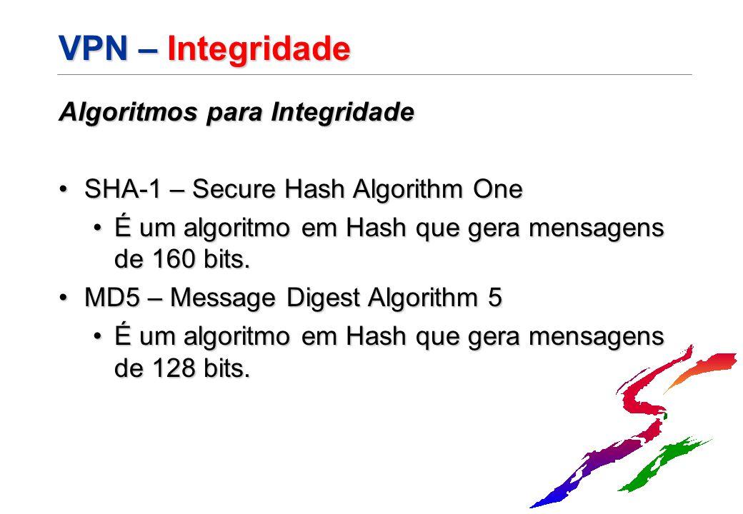 VPN – Integridade Algoritmos para Integridade SHA-1 – Secure Hash Algorithm OneSHA-1 – Secure Hash Algorithm One É um algoritmo em Hash que gera mensa